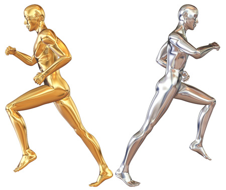 statuette: Statuette of running  athletes