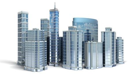 비즈니스 센터. 흰색에 사무실 건물