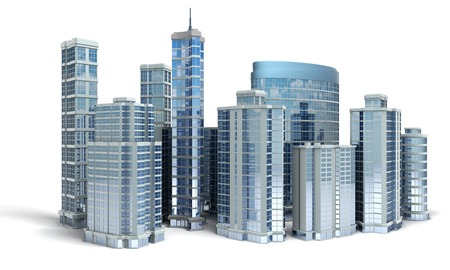 tall buildings: Business center. Office buildings on white