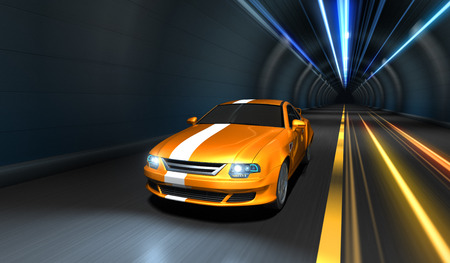 Sports car racing in a tunnel photo