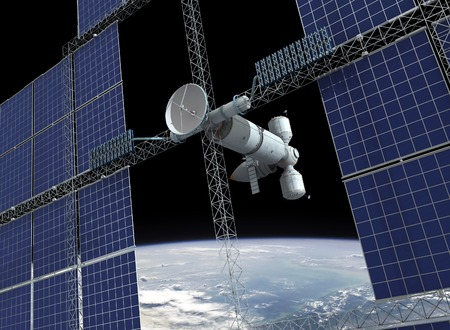 orbiting: Abstract orbiting space station Stock Photo