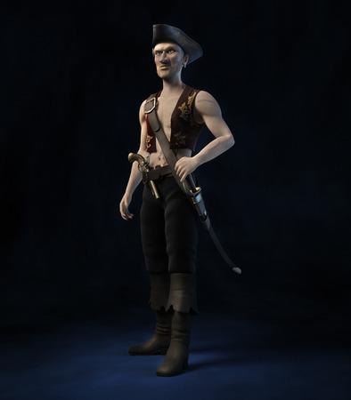 swashbuckler: Portrait of a pirate on the dark blue velvet background