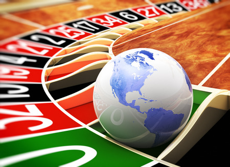 roulette wheel: The world is a casino Stock Photo