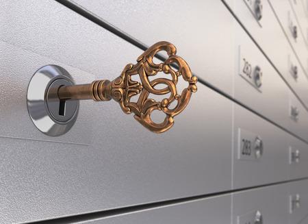 safety deposit box: Key in the safe deposit box