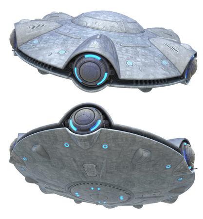 UFO. Geïsoleerd op wit. Clipping pad opgenomen