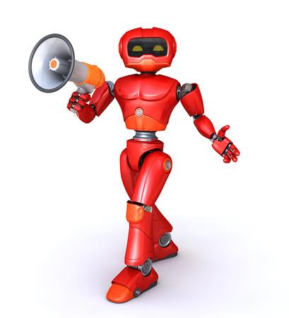 talking robot: robot speaks in megaphone