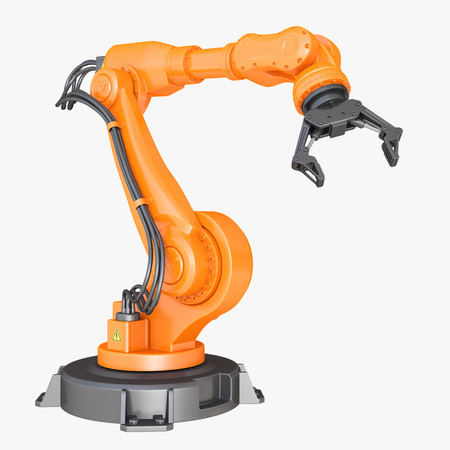 robot arm: Robotic Arm isolated on white background Stock Photo