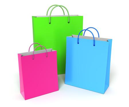 세 가지 다채로운 쇼핑 가방