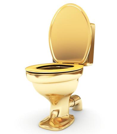 inodoro: Taza del inodoro de oro como un estado Foto de archivo