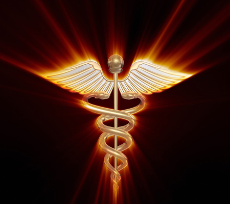 Golden caduceus medical symbol Standard-Bild