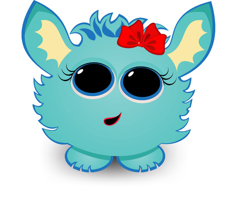 cute creature: Cute  creature with bow on its head.