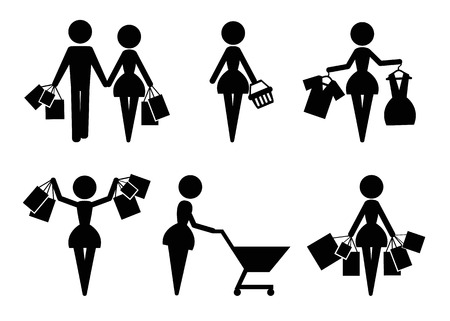 shopping bag icon: Set of 6 shopping vector icons