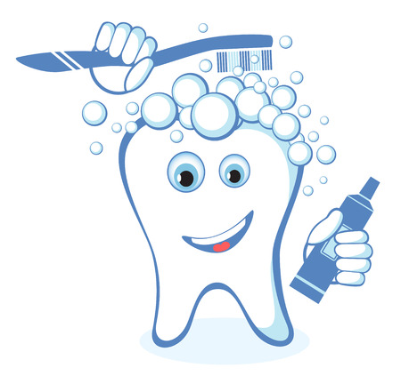 brushing: Healthy white shiny tooth