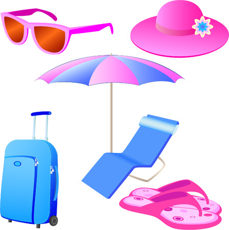 chaise longue: Vacations icon set Illustration