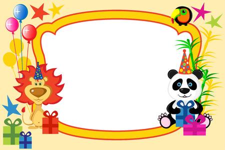 Cartoon animals frame Vector