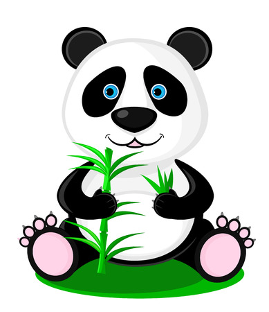 panda bear: Cute panda bear with bamboo in its paws