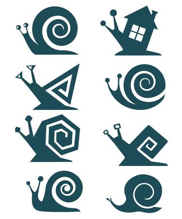 siluette: Set of snails Illustration