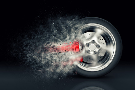 Car wheel with trail of dust