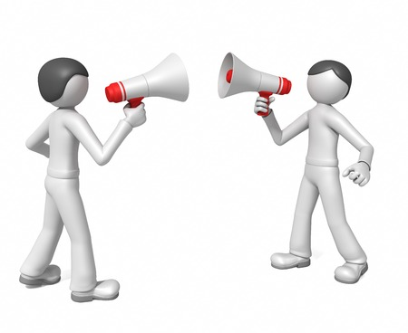 opposing: Two men yell at each other in megaphones Stock Photo