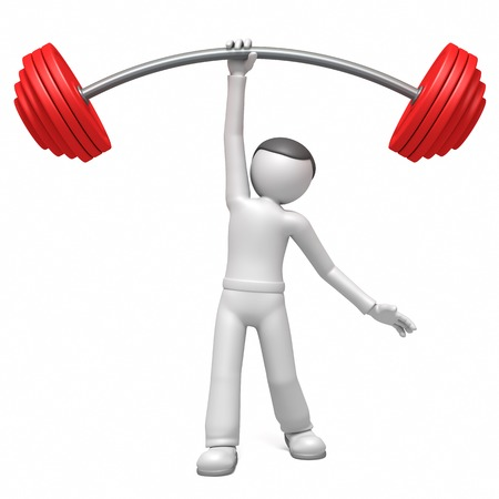 weights: 3d man  lifting weights
