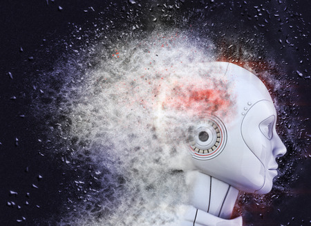 dust: Robots head  shattered into dust Stock Photo