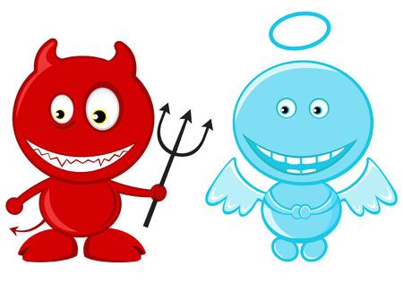 Schattige kleine engel en duivel
