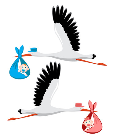 blue blanket: Stork delivering a newborn baby girl and boy Illustration