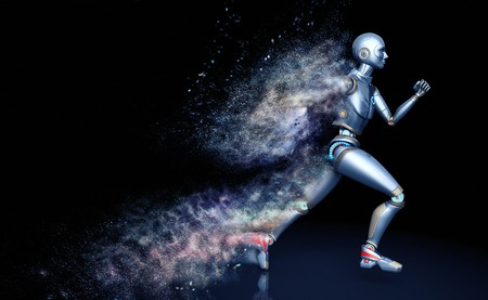 Running robot shattered into dust Archivio Fotografico