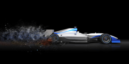 formula car: Formula car with trail of dust