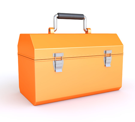 Orange tool box isolated on white background Stock Photo