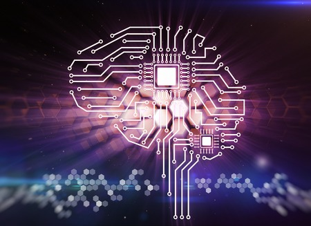 brain and thinking: Computer circuit board in the form of the human brain