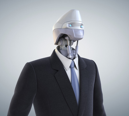 artificial model: Robot dressed in a business suit. Clipping path included