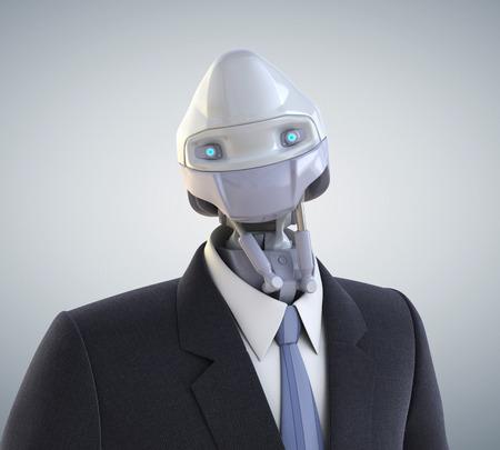 비지니스 정장을 입고 로봇. 클리핑 경로 포함