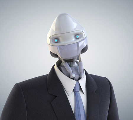 Robot dressed in a business suit. Clipping path included