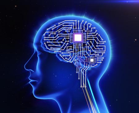 codigo binario: Ordenador placa de circuito en forma de cerebro humano