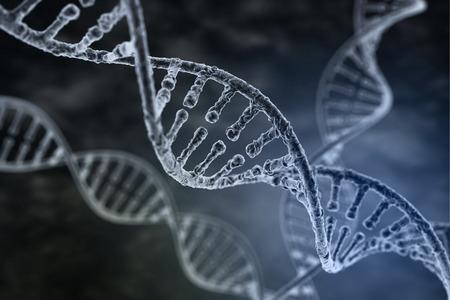 Spiral strand of DNA on the dark background Banque d'images