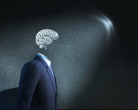 Businessman without head just with sketched brain