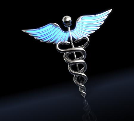 Silver caduceus medical symbol 版權商用圖片 - 39493541
