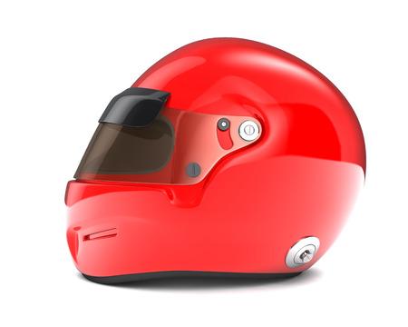casco rojo: Casco rojo aislado sobre fondo blanco