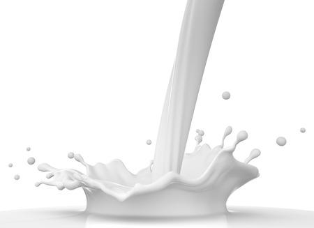 leche y derivados: Verter la leche Foto de archivo