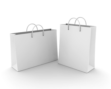 white paper bag: Empty Shopping Bag on white for advertising and branding