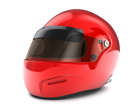 Red  helmet Isolated on white background photo
