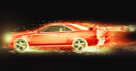 light trail: Coupe deportivo rojo con rastro de luz Foto de archivo