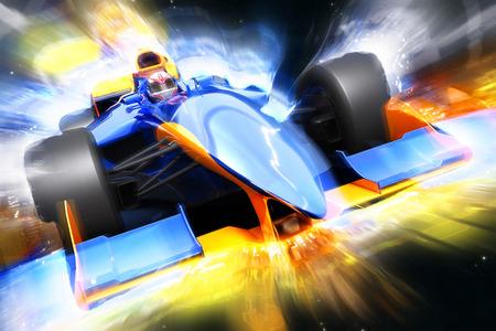 光の効果と F1 の火球。ブランド名を持たないレースカー設計され、自分自身をモデル化しました。 写真素材