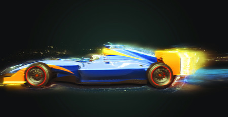 race car with light trail. Race car with no brand name is designed and modelled by myself