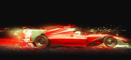 光の効果とレースカー。ブランド名を持たないレースカー設計され、自分自身をモデル化しました。