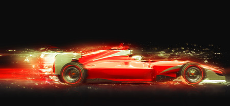 race car with light effect. Race car with no brand name is designed and modelled by myself Stock Photo