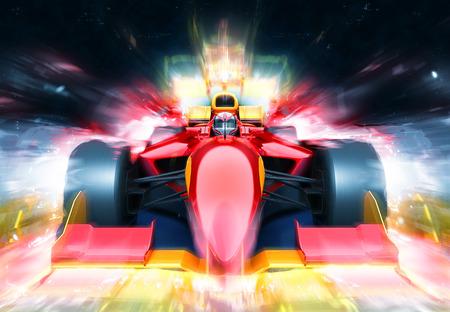照明効果のレースの車の火球。ブランド名のないレース車を設計し、自分自身をモデル化しました。