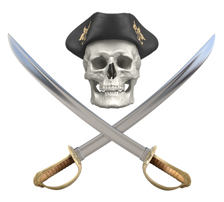 tricorn hat: Pirate crossed sabers and skull with a tricorn. Clipping path included