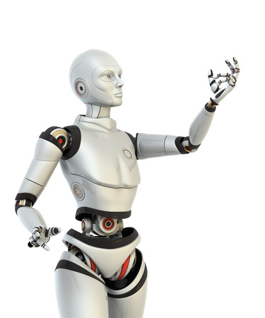 Robot holds something in his hand. Clipping path included Standard-Bild